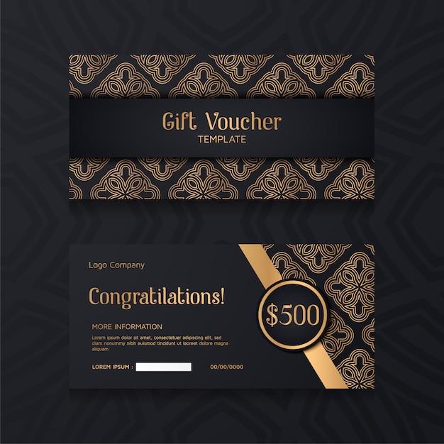 Modelo de comprovante de luxo com fundo dourado e preto. Vetor Premium