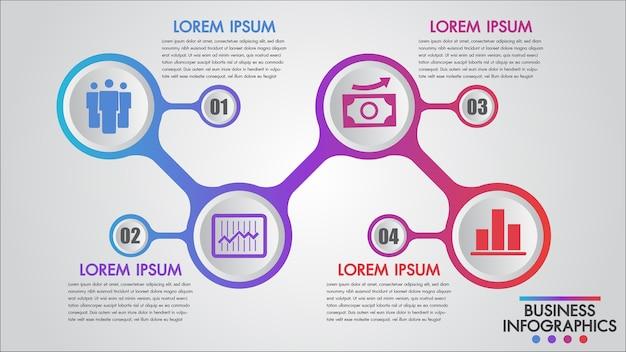 Modelo de conceito de 4 etapas de negócios de infográficos Vetor Premium