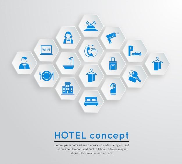 Modelo de conceito de alojamento de viagens de hotel Vetor grátis
