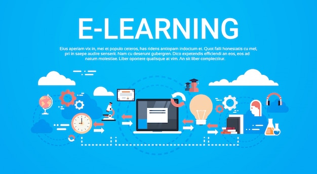 Modelo de conceito de aprendizagem à distância global de educação on-line de e-learning Vetor Premium