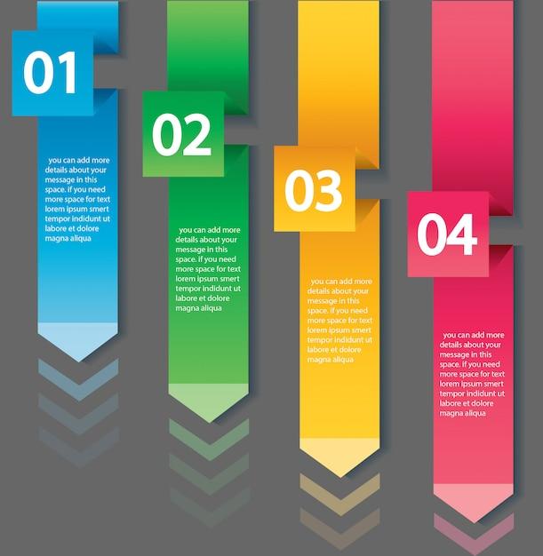 Modelo de conceito de infográfico de seta com 4 opções Vetor Premium