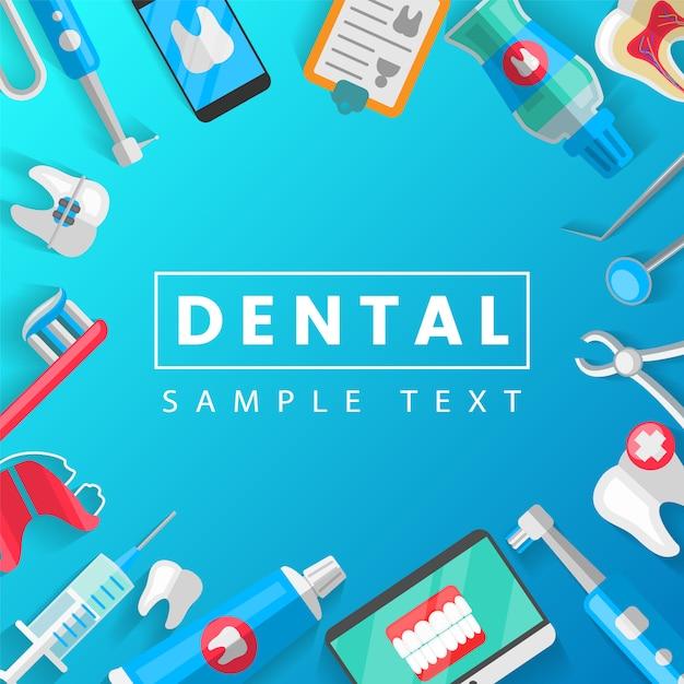 Modelo de conceito dental com ícones plana isolada Vetor Premium