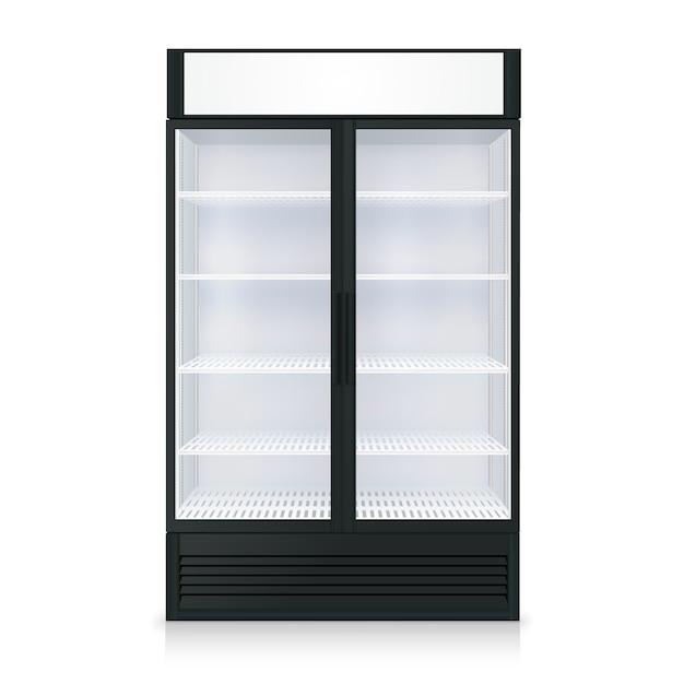 Modelo de congelador realista com porta e vidro transparente Vetor grátis