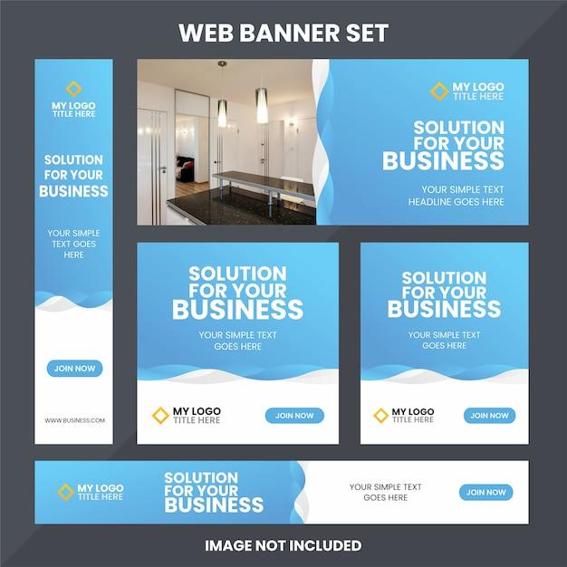 Modelo de conjunto de anúncios de banner da web moderna Vetor Premium