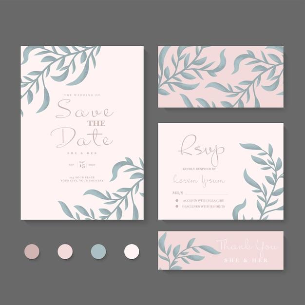 Modelo de conjunto de cartão de convite de casamento com linda moldura floral Vetor grátis