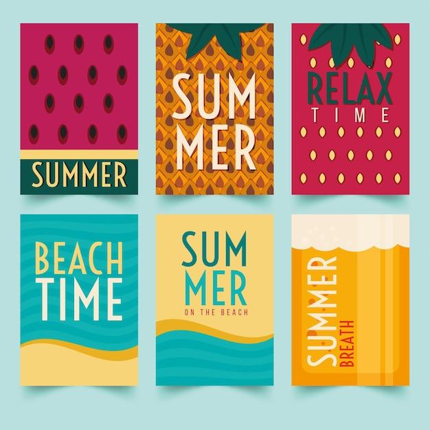 Modelo de conjunto de cartões de verão Vetor grátis