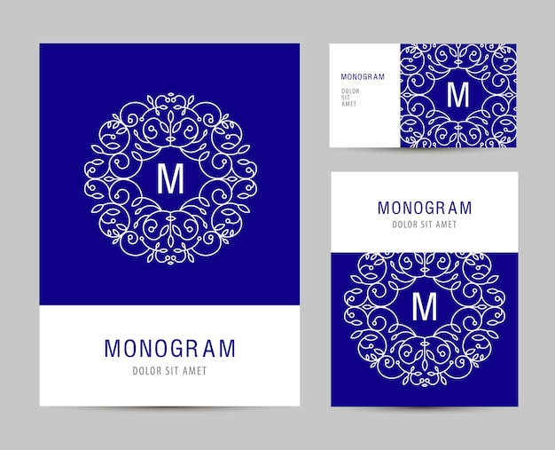 Modelo de conjunto de negócios com logotipo de carta de monograma. elementos de marca de negócios, cartões. folheto . Vetor Premium