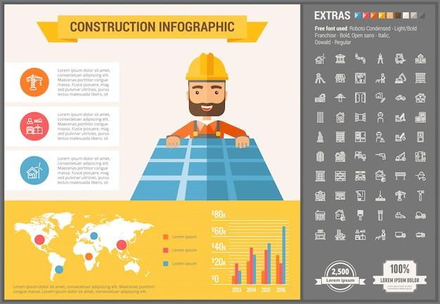 Modelo de construção infográfico design plano e conjunto de ícones Vetor Premium