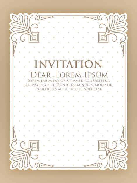 Modelo de convite com moldura ornamental vintage Vetor grátis