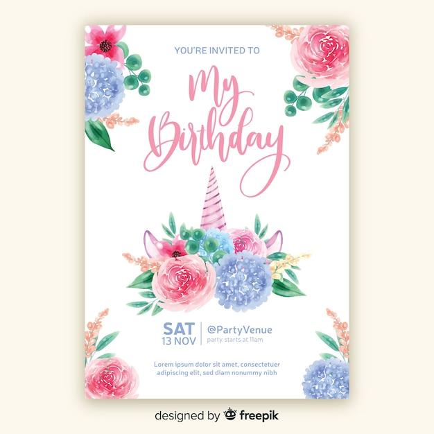 Modelo de convite de aniversário de estilo aquarela Vetor grátis