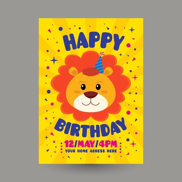 Modelo de convite de aniversário infantil com leão Vetor grátis