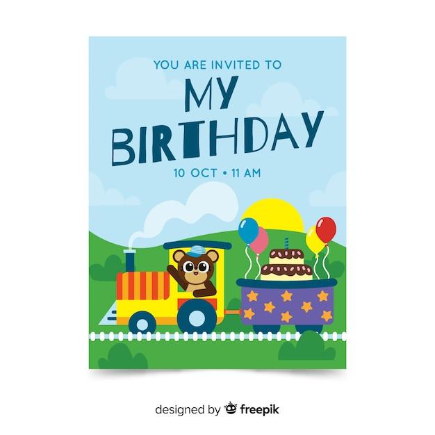 Modelo de convite de aniversário infantil com trem Vetor grátis