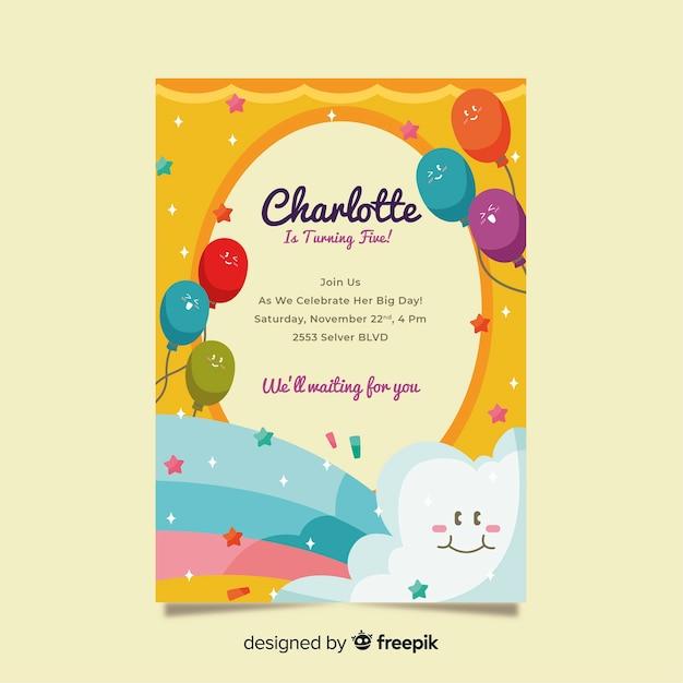 Modelo de convite de aniversário infantil Vetor grátis