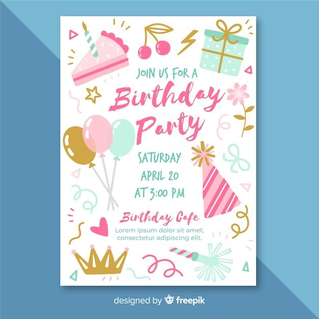 Modelo de convite de aniversário na mão desenhada estilo Vetor grátis