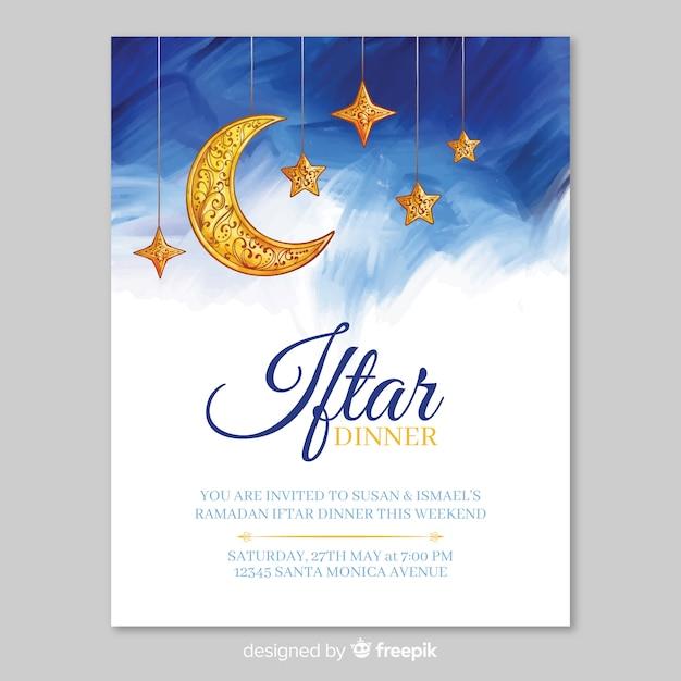Modelo de convite de aquarela iftar Vetor grátis