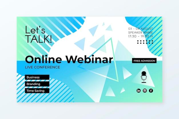 Modelo de convite de banner para webinar com formas abstratas Vetor grátis
