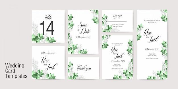 Modelo de convite de cartão de casamento Vetor Premium