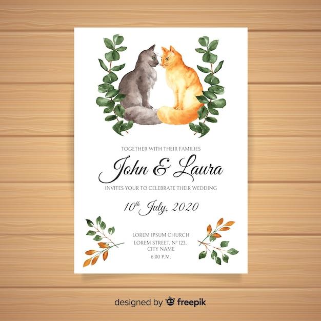 Modelo de convite de casamento animal aquarela Vetor grátis