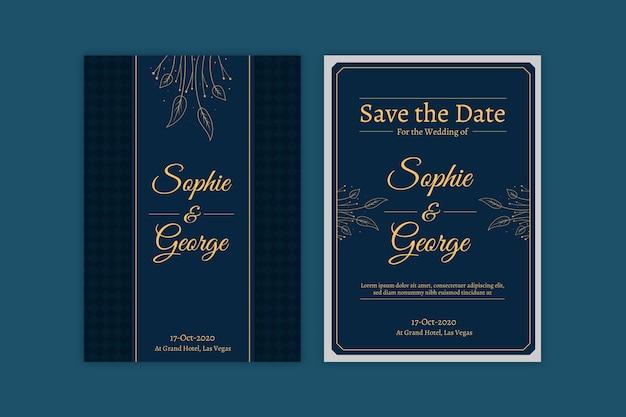 Modelo de convite de casamento azul com elementos dourados Vetor grátis