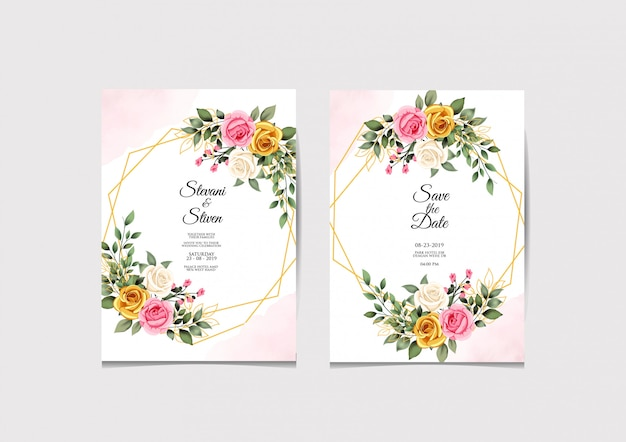 Modelo de convite de casamento beleza e elegante Vetor Premium