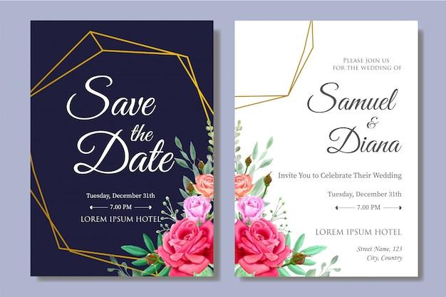 Modelo de convite de casamento bonito aquarela Vetor Premium