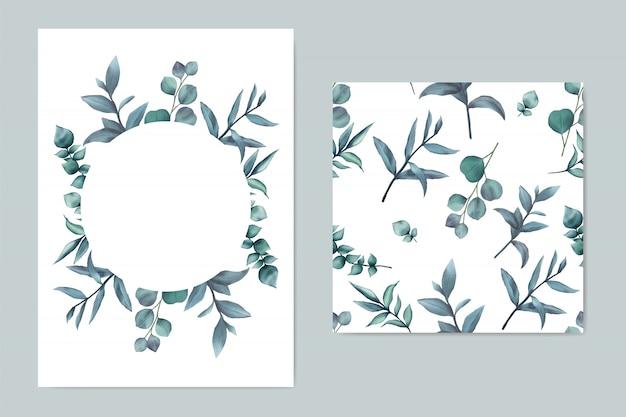 Modelo de convite de casamento bonito com folhas azuis Vetor Premium