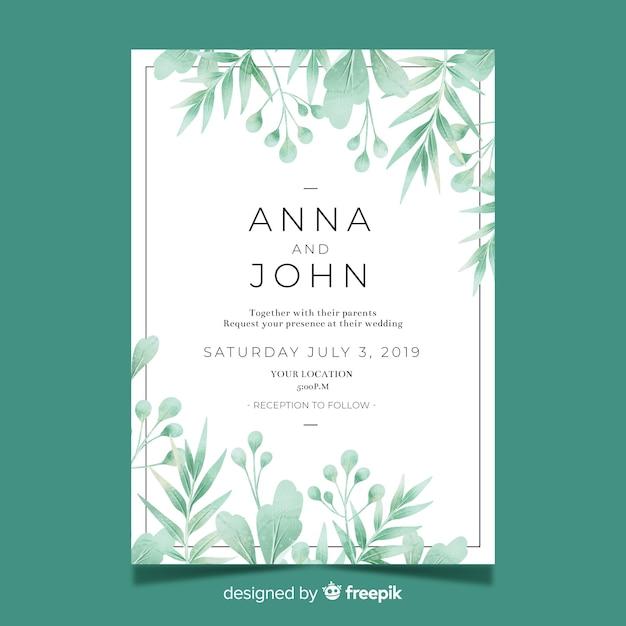 Modelo de convite de casamento bonito com folhas em aquarela Vetor grátis
