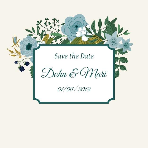 Modelo de convite de casamento bonito Vetor Premium