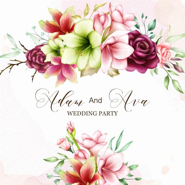 Modelo de convite de casamento com amaryllis aquarela e flores rosas Vetor Premium