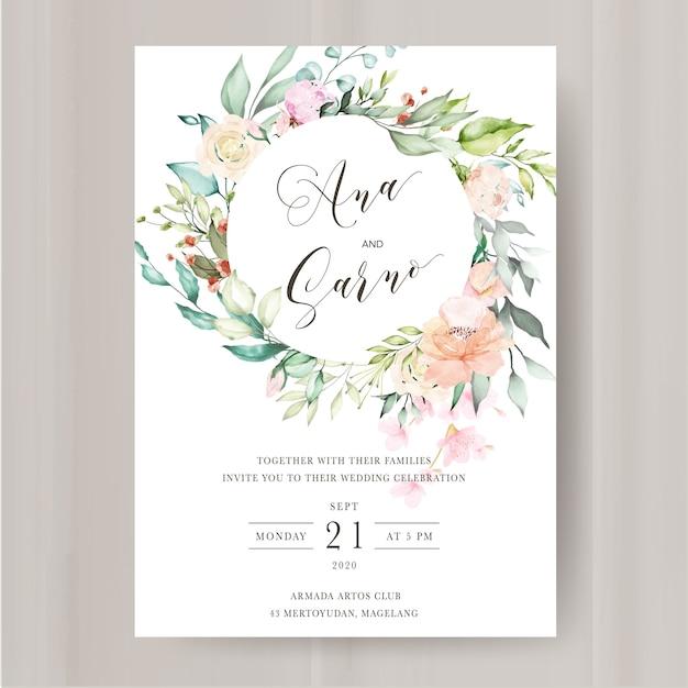 Modelo de convite de casamento com aquarela floral e folhas Vetor Premium