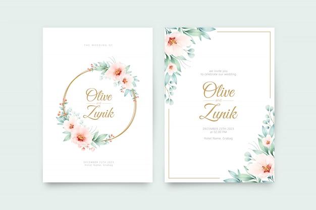 Modelo de convite de casamento com aquarela floral linda coroa de flores Vetor Premium