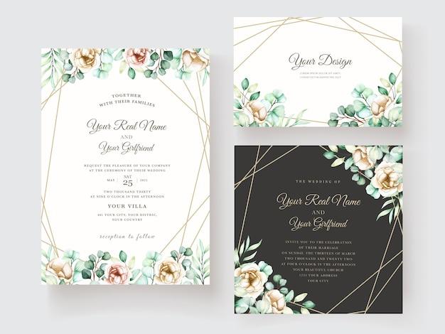 Modelo de convite de casamento com conjunto de folhas de eucalipto Vetor grátis