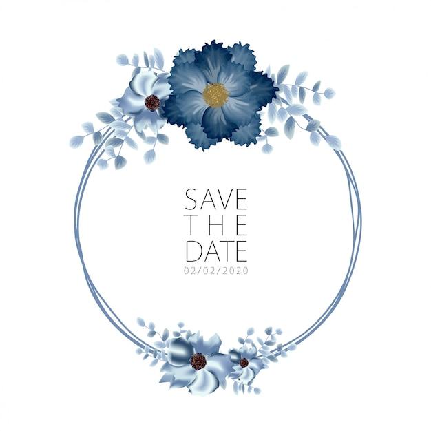 Modelo de convite de casamento com decoração de buquê de flores rosa Vetor Premium