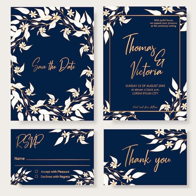 Modelo de convite de casamento com elementos decorativos florais. Vetor Premium
