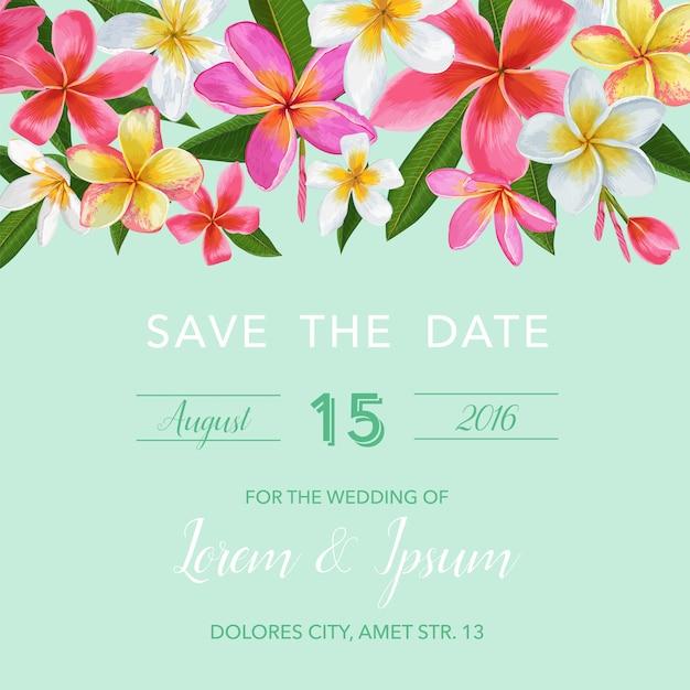 Modelo de convite de casamento com flores. cartão tropical Vetor Premium