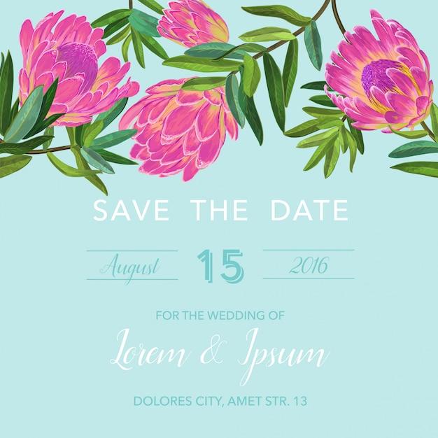 Modelo de convite de casamento com flores cor de rosa Vetor Premium