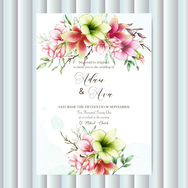 Modelo de convite de casamento com flores de amaryllis aquarela Vetor Premium