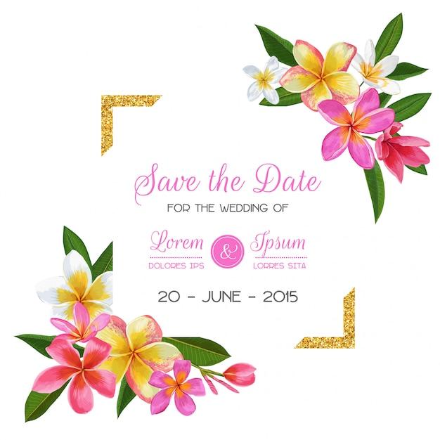 Modelo de convite de casamento com flores de plumeria Vetor Premium