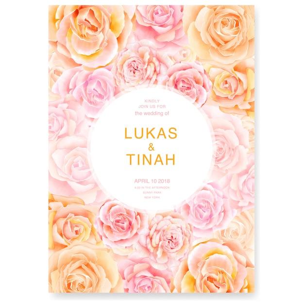 Modelo de convite de casamento com flores lindas rosas Vetor Premium