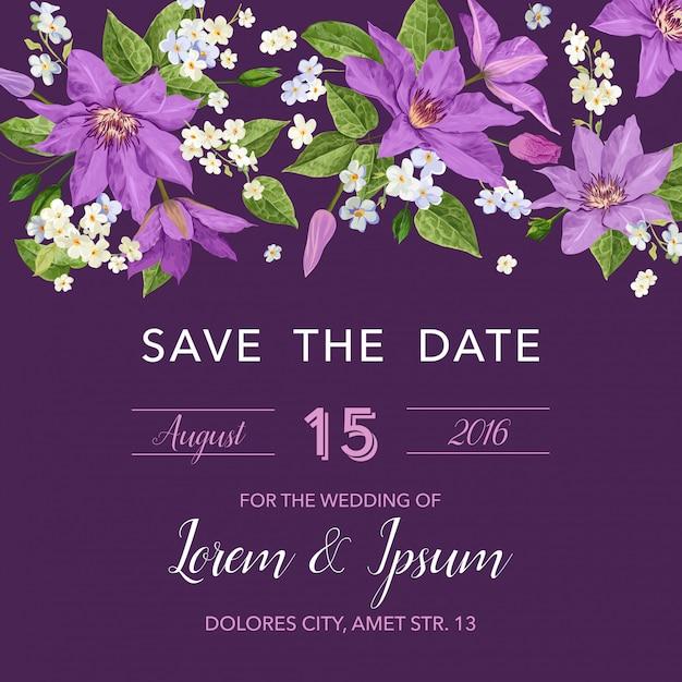 Modelo de convite de casamento com flores Vetor Premium