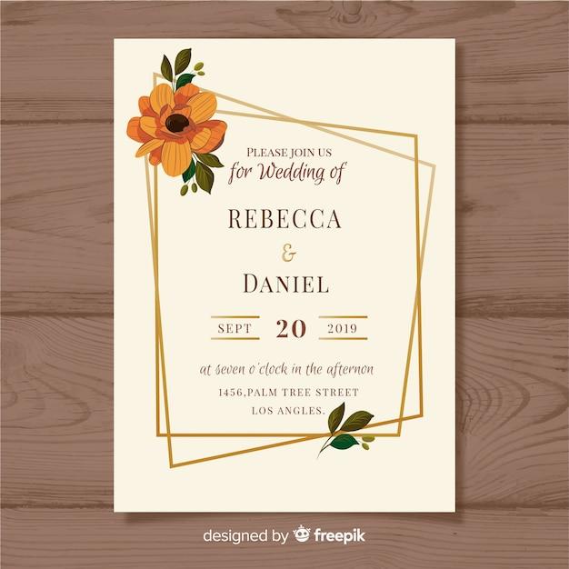 Modelo de convite de casamento com flores Vetor grátis