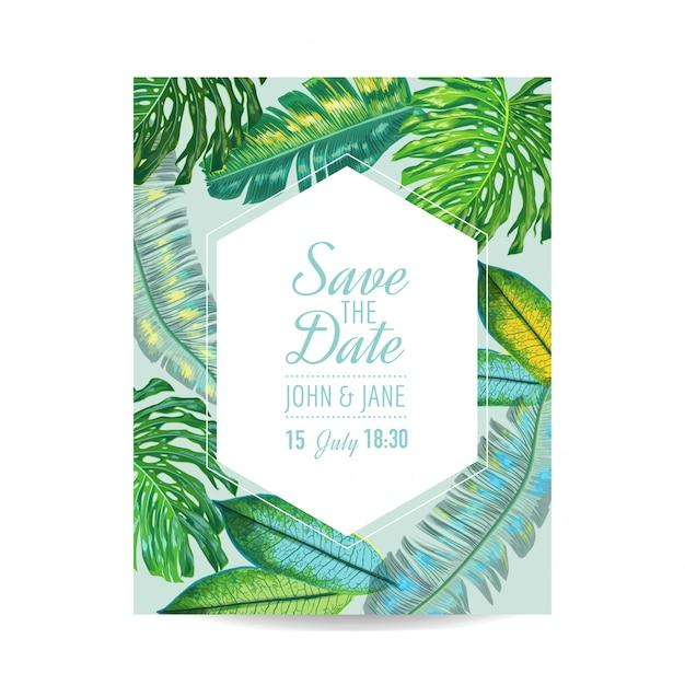 Modelo de convite de casamento com folhas de palmeira Vetor Premium