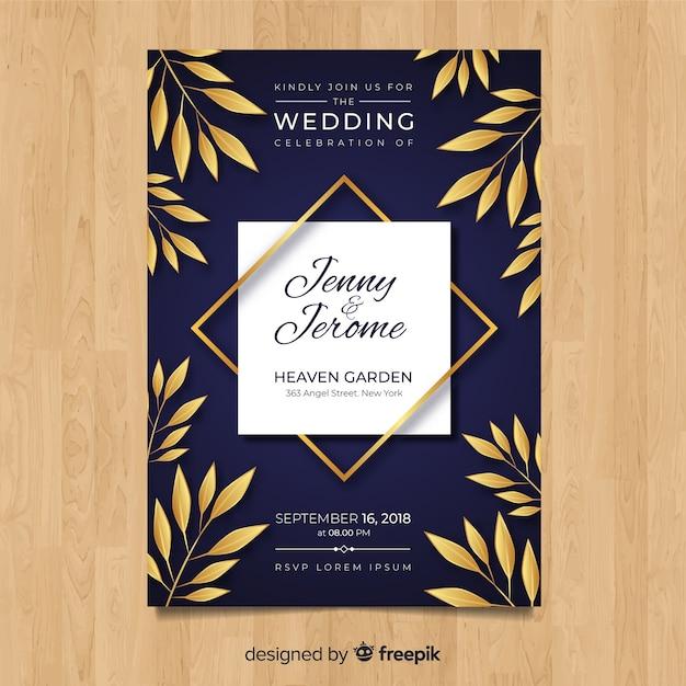 Modelo de convite de casamento com folhas douradas Vetor grátis