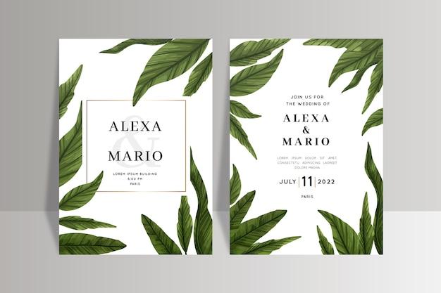 Modelo de convite de casamento com folhas Vetor grátis