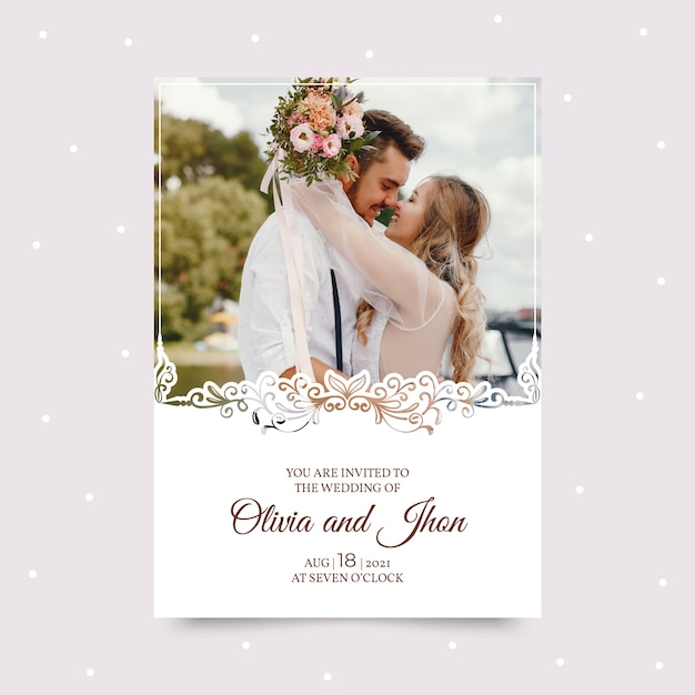 Modelo de convite de casamento com foto Vetor grátis