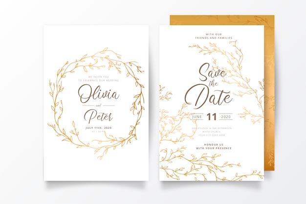 Modelo de convite de casamento com galhos dourados Vetor grátis