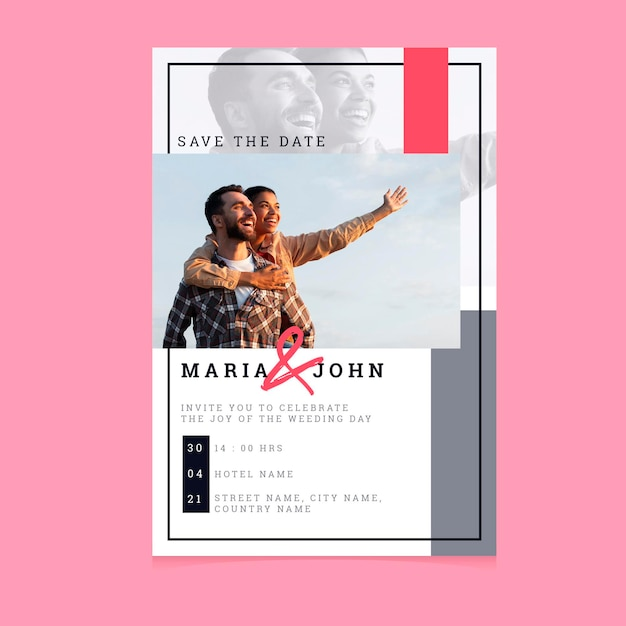 Modelo de convite de casamento com homem e mulher Vetor grátis