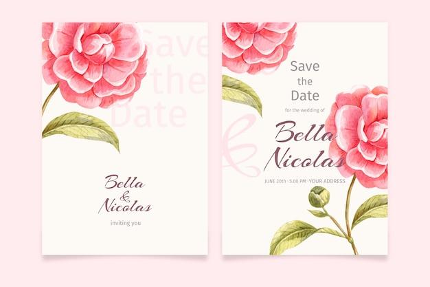 Modelo de convite de casamento com uma flor grande Vetor grátis