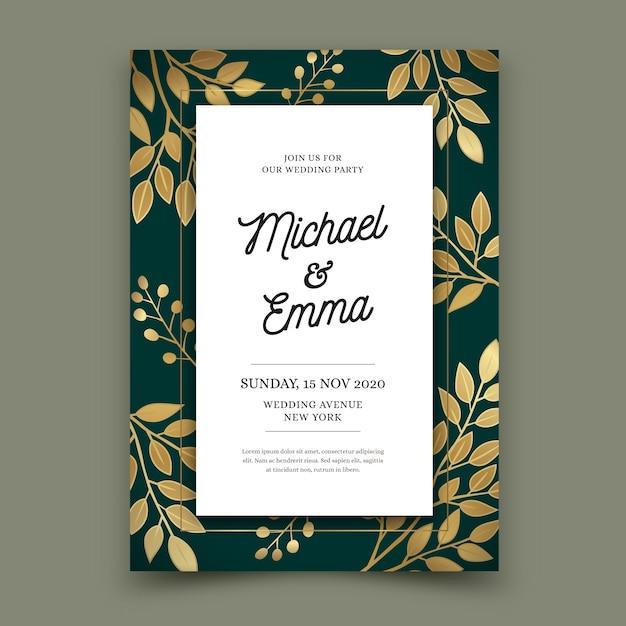 Modelo de convite de casamento de luxo Vetor grátis