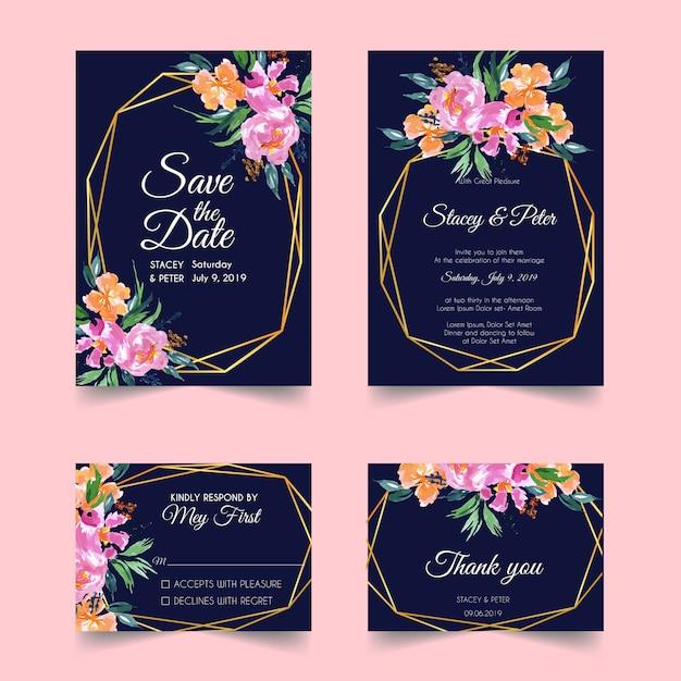 Modelo de convite de casamento de ouro geométrico floral blush Vetor Premium